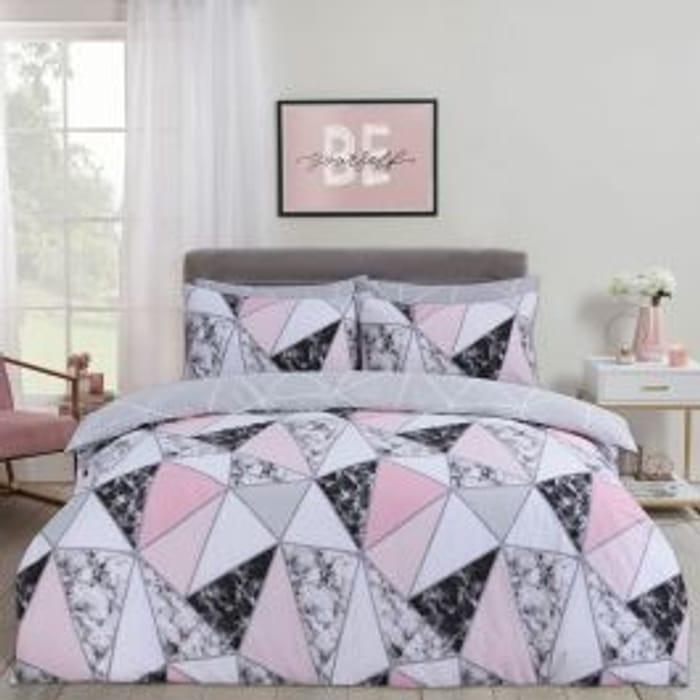 Dreamscene Marble Geometric Duvet Set - Grey/blush