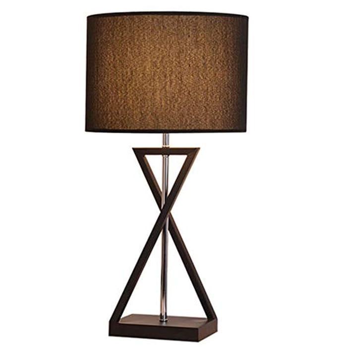 Baoniansoo Modern Bedside Desk Lamp with Hollowed Black Metal Base
