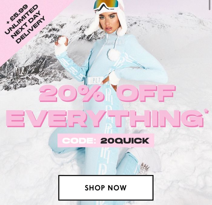 20% off Everything + £5.99 Unlimited next Day Delivery for the Year