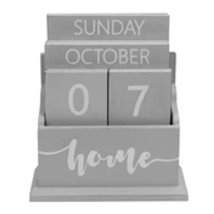 Wooden Vintage Perpetual Calendar | M&W Grey