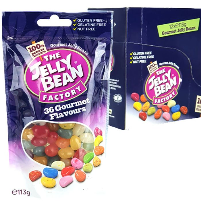 12 X the Jelly Bean Factory Gourmet Flavour Sweets 113g Sealed Packs