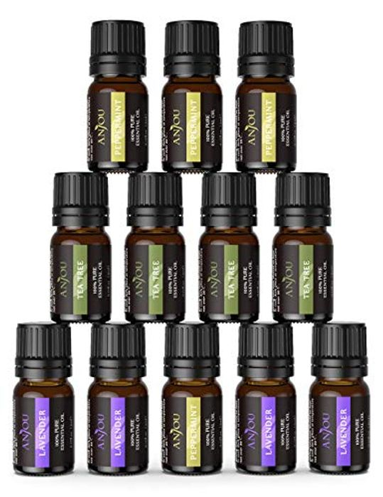 FLASH DEAL! Anjou Essential Oils Set (12 Oils, Lavender, Tea Tree and Peppermint