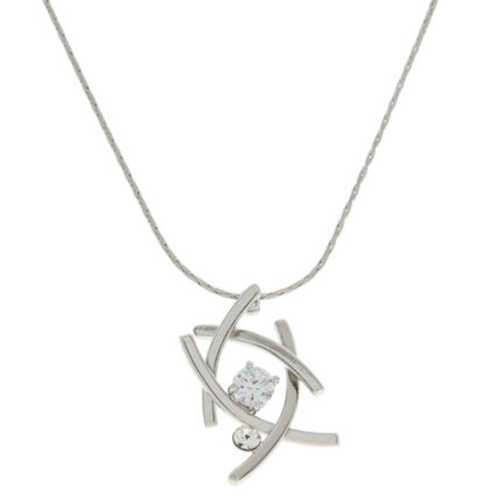 BUCKINGHAM Silver Tone Twisted Pendant Necklace