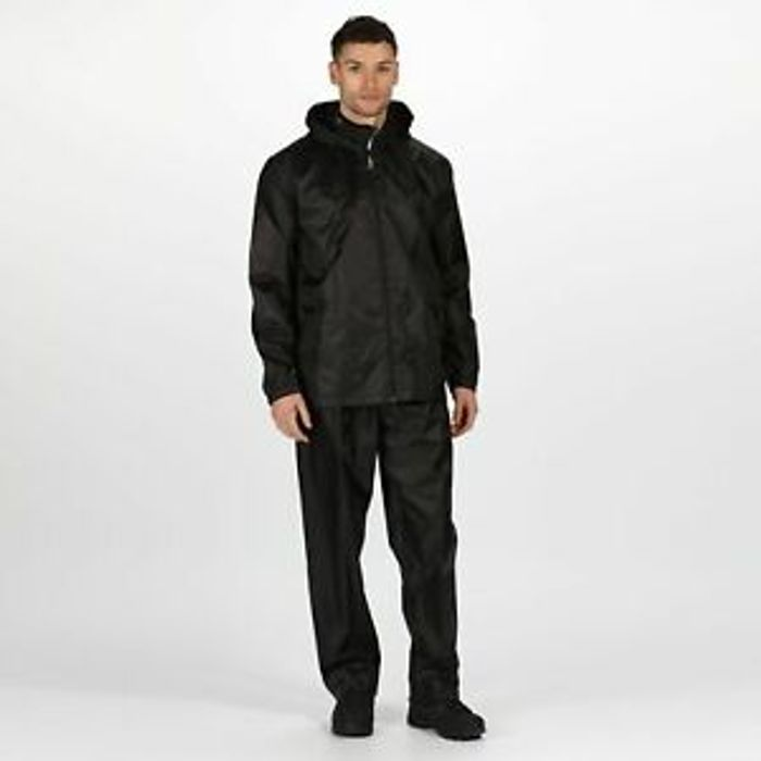 Regatta Unisex Adult's Packaway Jacket & Trouser Waterproof Set Black