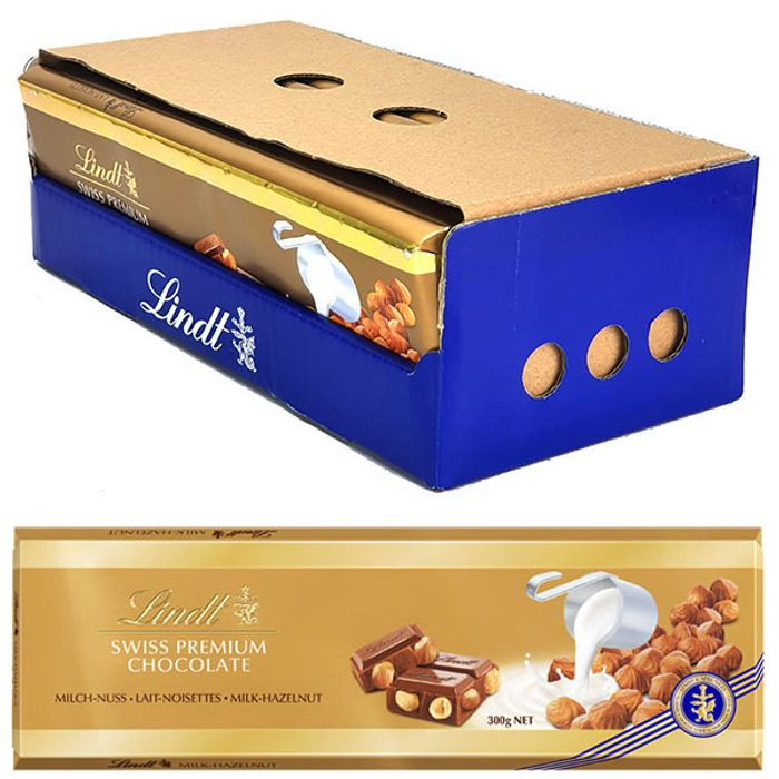 10 X Lindt Gold Milk Chocolate with Hazelnuts 300g Bars