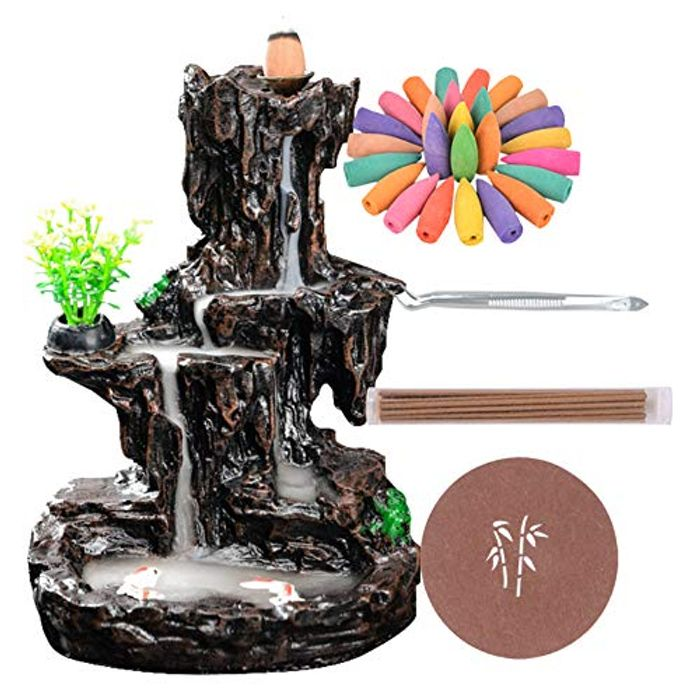 Waterfall Monk Incense Burner with 120 Incense Cones + 30 Incense Stick