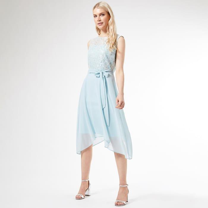Billie and Blossom Blue Lace Hanky Hem Midi Dress  Sizes 16 & 18