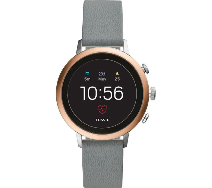 FOSSIL Venture FTW6016 Smartwatch - Rose Gold, Grey Silicone Strap