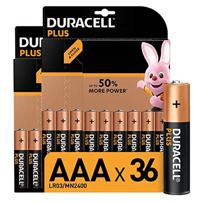 Duracell plus AAA Alkaline Batteries (Pack of 36), 1.5 Volts LR03 MN2400