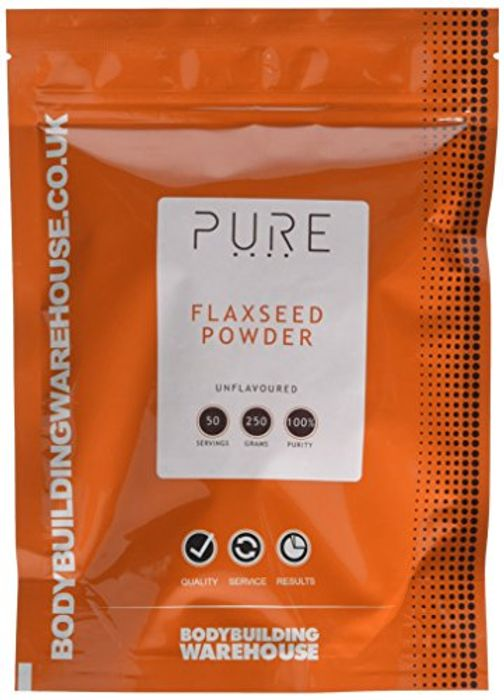 Bodybuilding Warehouse PURE Ground Flaxseed Powder 250g Omega 3 Vegan High Fibre
