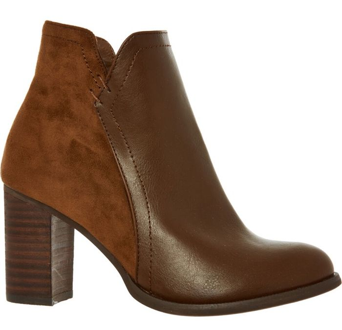BLOCCO 31 Brown Leather Block Heel Ankle Boots