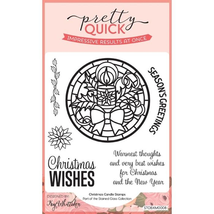 Pretty Quick Stamp Set Christmas Candle Set of 6 | Stained Glass Collection