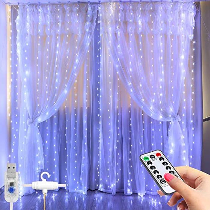 Window Curtain String Light -3x2.8m 280 LED 8 Modes Fairy Lights W