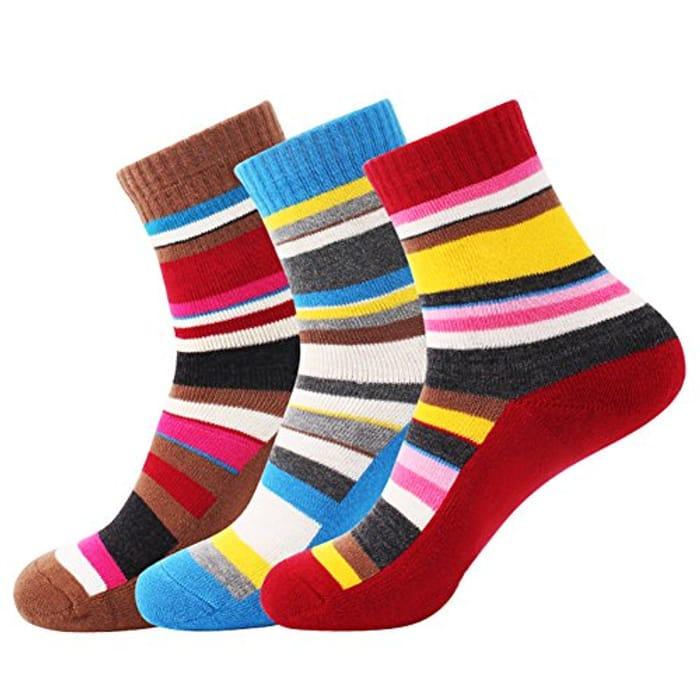 3 Pairs Women Walking Hiking Socks - No Blister, Breathable, Moisture Wicking