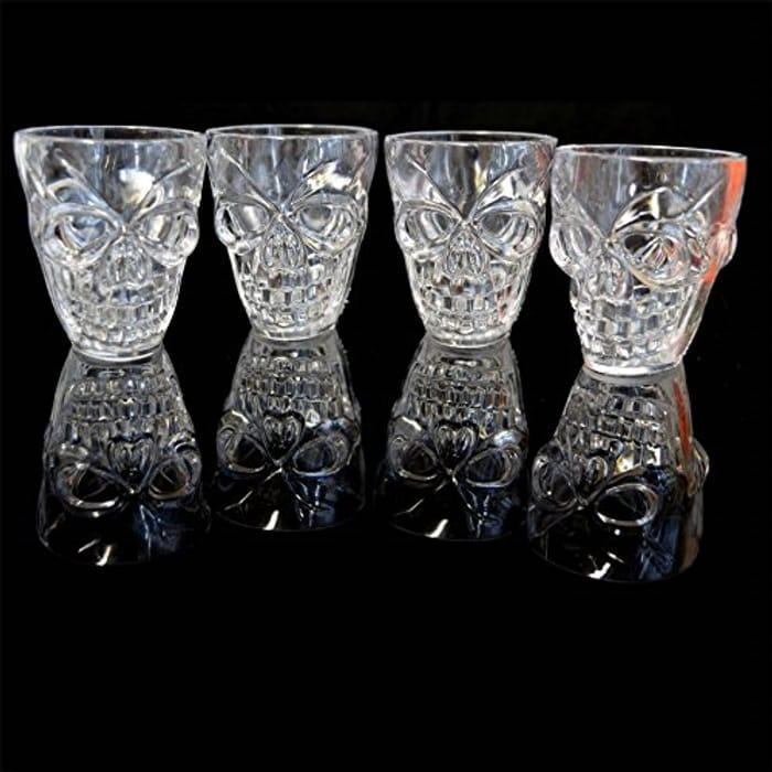 Set of 4 Halloween Clear Shot Glasses 3D Skull Shape