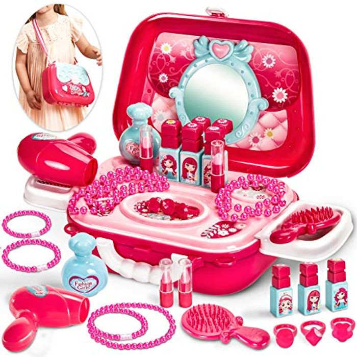 Buyger 21 PCS Kids Make up Set Dressing Table for Girls