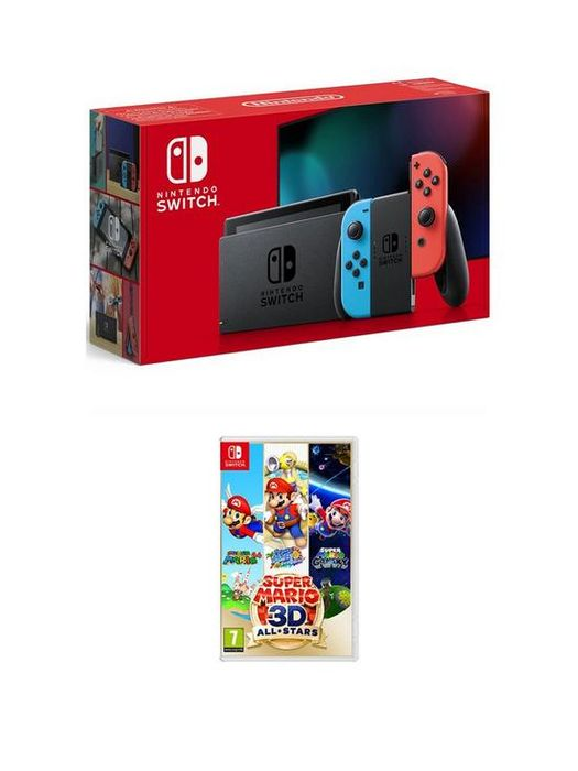Nintendo Switch Console with Super Mario 3D All-Stars Neon Red/Blue or Grey