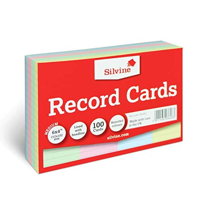 Silvine A6 Multi-Coloured Record Cards - Only £1.79!