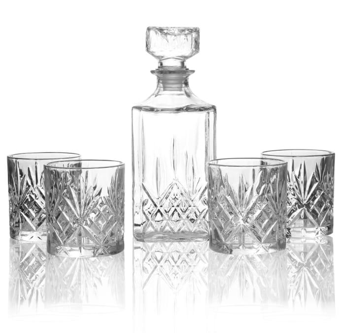 Set of 4 Tumbler Set & Whiskey Decanter Glass Set - Only £8.99!