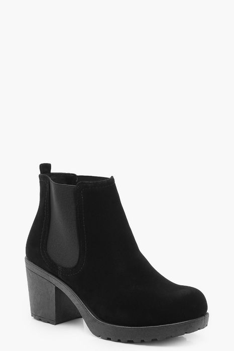 Wide Fit Suedette Cleated Heel Chelsea Boots