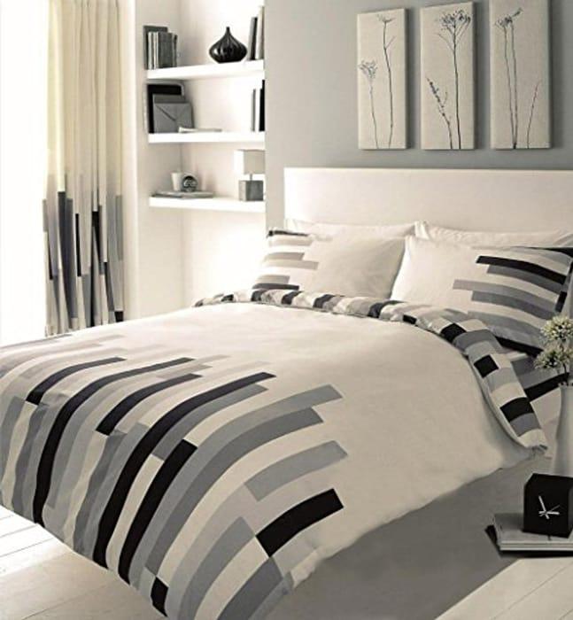 GAVENO Blocks Printed Duvet Set, Polyester-Cotton, Cream/Grey/Black, Double