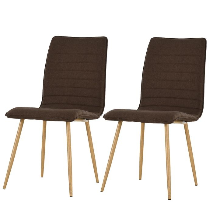 HOMCOM Polyester Upholstered Set-of-2 Stripe Dining Chairs Brown with CODE