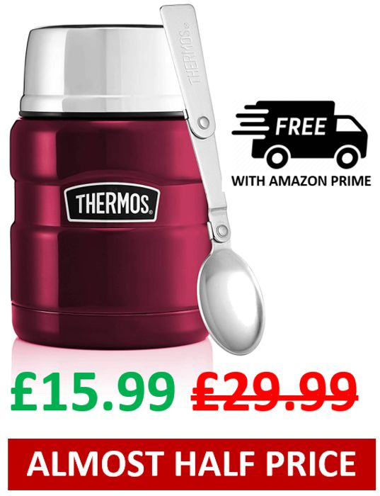47% off - THERMOS Stainless King Food Flask - Raspberry, 470ml
