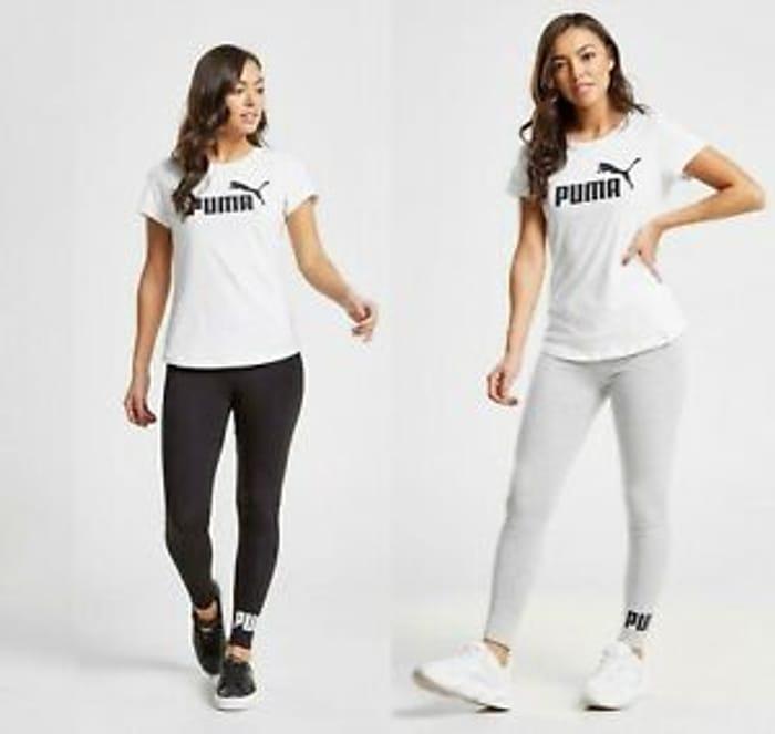 New Puma Womens Core Gym Fitness Running Leggings Black & Grey
