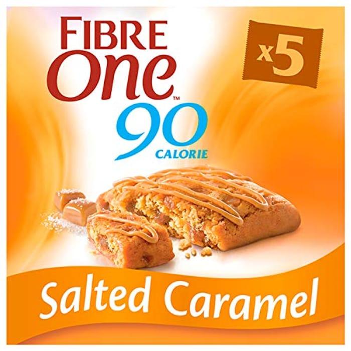 Fibre One 90 Calorie Salted Caramel High Fibre Squares, 5 X 24g