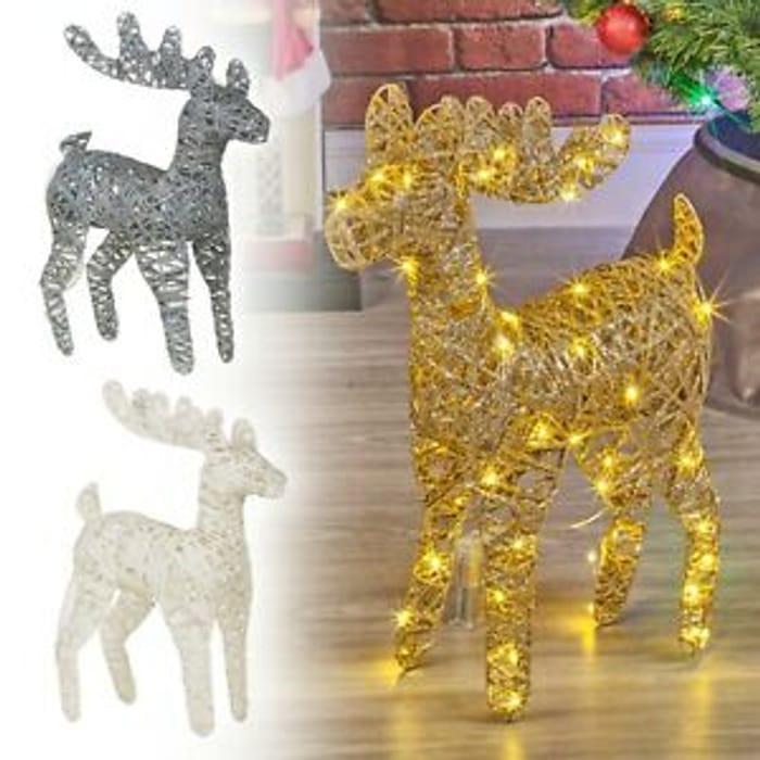 LED Light up Reindeer 45cm Plastic Rattan Wire Frame - Only £13.59!