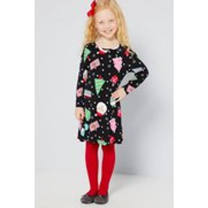 Girls Mini Me All over Print Christmas Dress - Only £5!