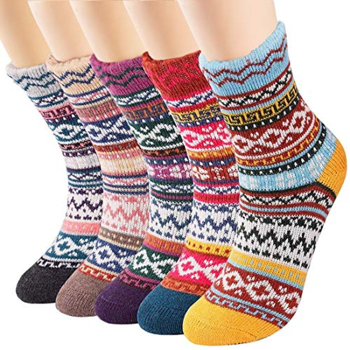 DEAL STACK - 5 Pairs Womens Thermal Wool Socks + 5% Coupon