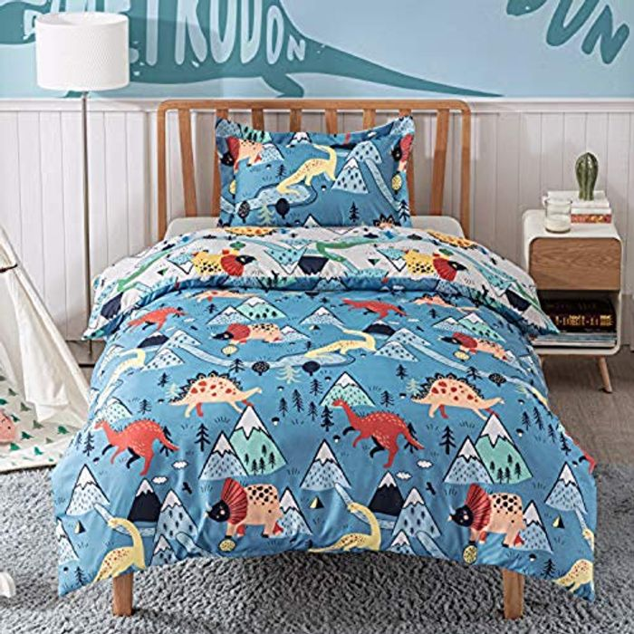 Duvet Cover Set Single Size - Dinosaur Bedding Code works on all options
