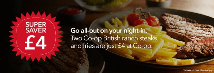 Two Co-Op British Ranch Steaks and Fries Are Just £4 at Co-Op