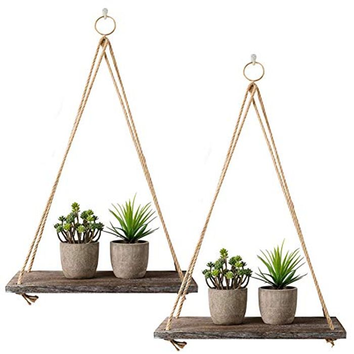 2 Packs Wooden Floating Shelves with String Rope