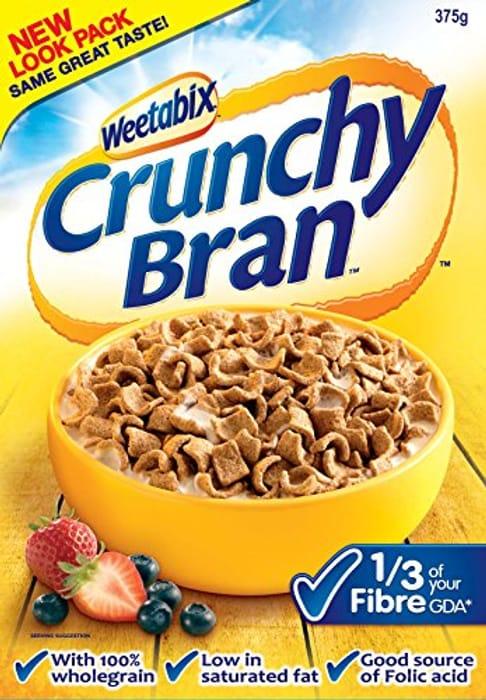 Weetabix Crunchy Bran Wholegrain Cereal, 375g (Pack of 9)
