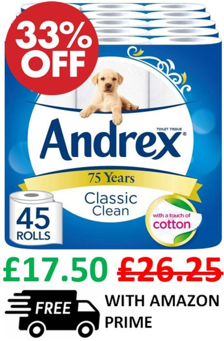 Save 33% - 45 Andrex Classic Clean Toilet Rolls - £17.50
