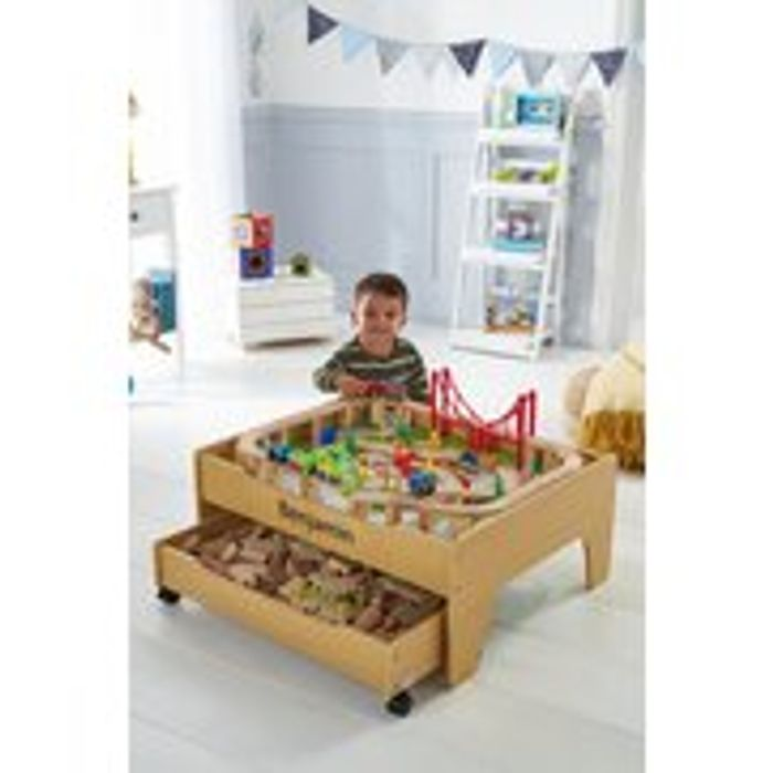 Personalised 2-in-1 Reversible Pine City and Train Table Set