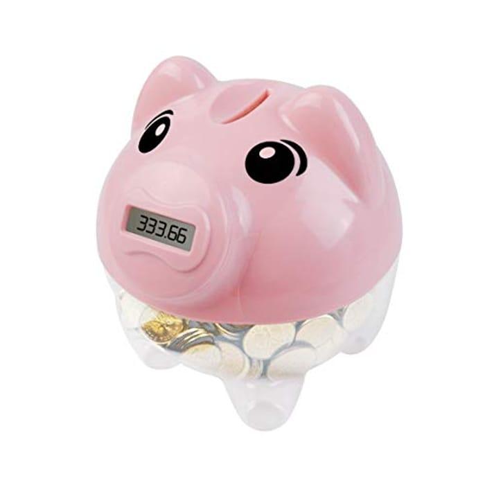 Vubkkty Digital Piggy Bank, Money Bank Count Coins LCD Display for Boys Girls