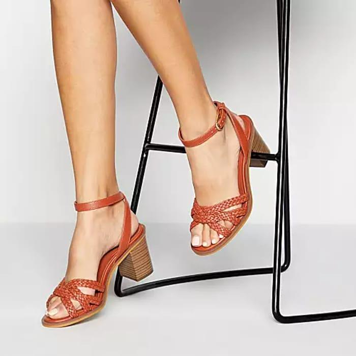Principles 'Racquet' Weave Block Heel Sandals - Red Brick, Yellow or White