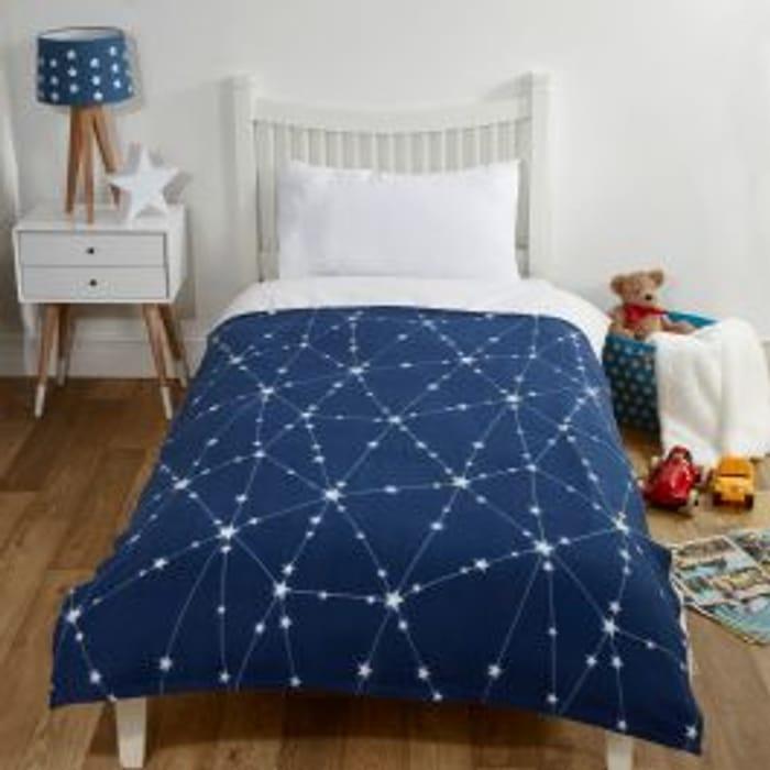 Dreamscene Galaxy Star Fleece Throw, Navy Blue - 120 X 150cm