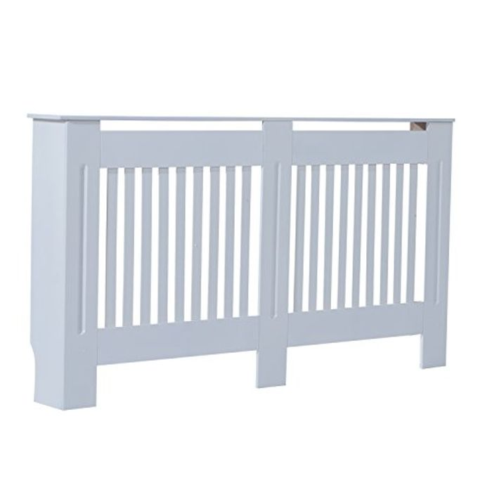 Slatted Radiator Cover Painted MDF Lined Grill in White (152L X 19W X 81H Cm)