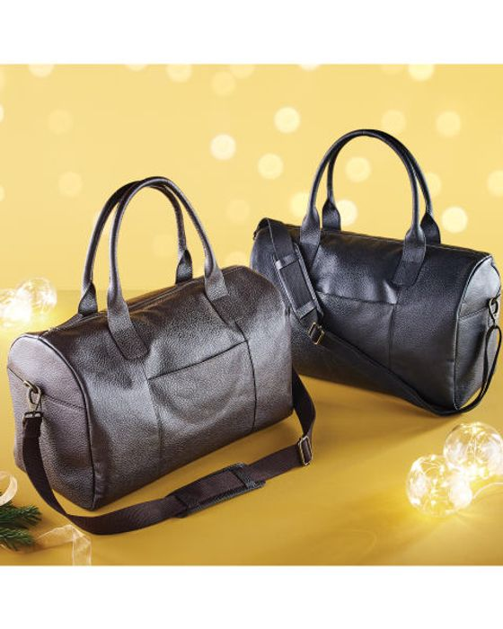 Real Leather Holdall Black/brown