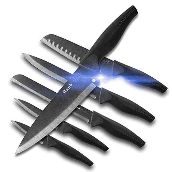 Wanbasion 6 Pieces Matte Black Titanium Plated Knife Set