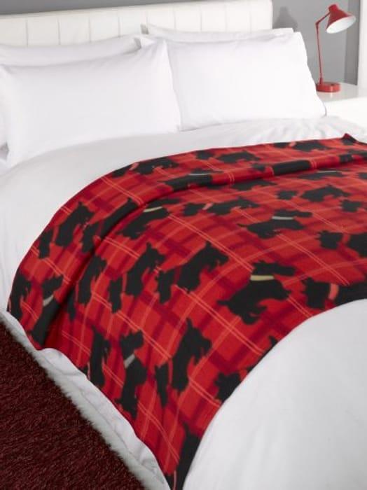 Dreamscene Scotty Dog Throw Blanket, Animal Print Bedspread, Red/Black