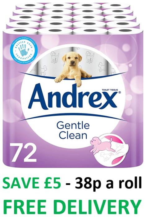 Andrex Gentle Clean Toilet Roll, 72 Rolls