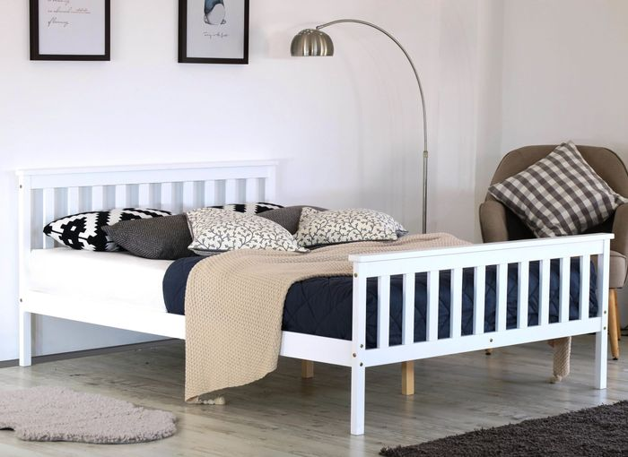 Double Bed Frame in White Solid Wood