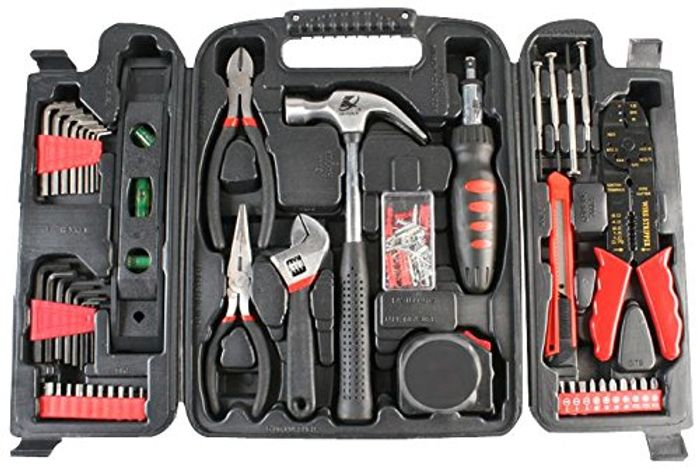 Duratool Household Tool Kit in Carry Case - Black (129-Piece)