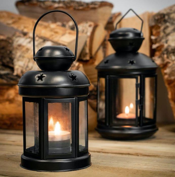 Nicola Spring Vintage Metal Candle Lantern - 16cm - Black