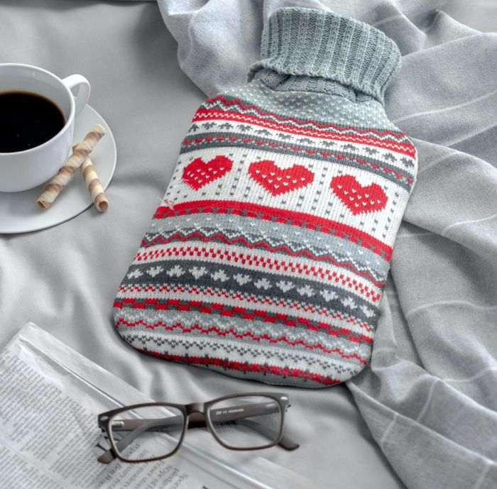 Harbour Housewares Striped Knitted Hot Water Bottle - Grey Heart